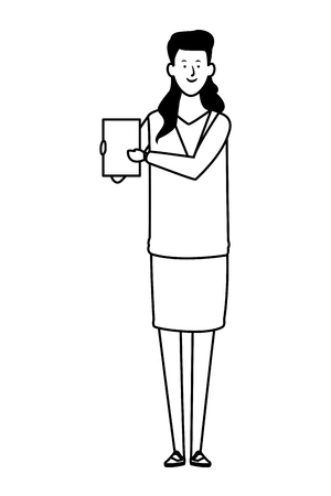 businesswoman avatar cartoon character with documents folder black and white vector illustration graphic design Çizim