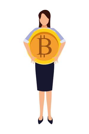 Businesswoman with bitcoin avatar vector illustration graphic design Çizim