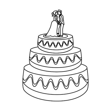 Pastel de bodas con novios maniquíes ilustración vectorial diseño gráfico