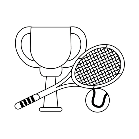 Tennis trophy cup with racket and ball symbol vector illustration graphic design