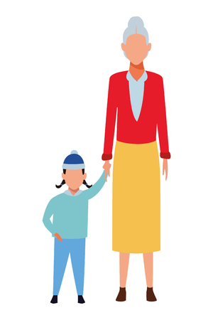 old woman with child wearing winter clothes and knitted cap vector illustration graphic design