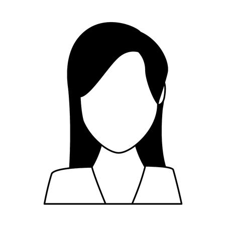 woman portrait faceless avatar cartoon character black and white vector illustration graphic design Çizim