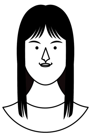 Woman face cartoon profile vector illustration graphic design Çizim