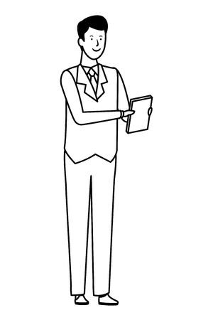 businessman avatar cartoon character documents folder black and white vector illustration graphic design