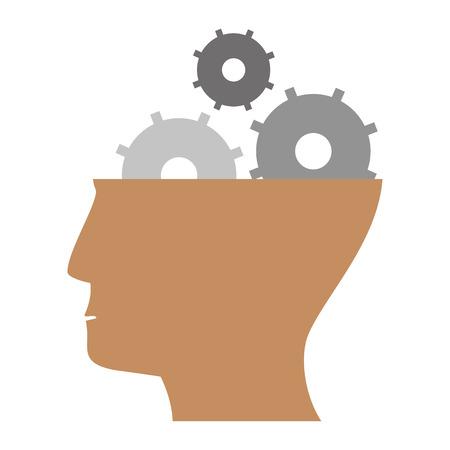 head with gears symbol isolated vector illustration graphic design Vektoros illusztráció