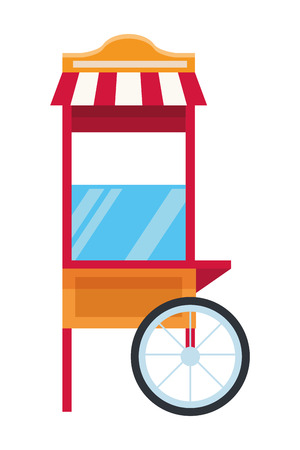 Pop corn cart with wheels vector illustration graphic design
