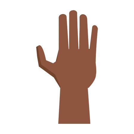 black hand open symbol vector illustration graphic design Banco de Imagens - 122975177