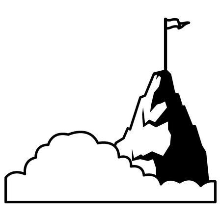 mountain goal peak cartoon vector illustration graphic design