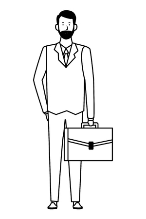 businessman avatar cartoon character with briefcase black and white vector illustration graphic design Çizim