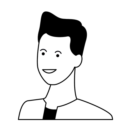 Young man smiling abstract cartoon profile vector illustration graphic design