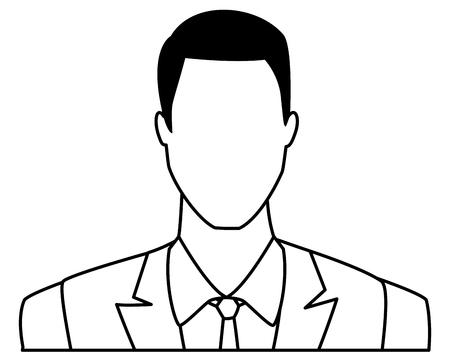 businessman avatar cartoon character portrait black and white vector illustration graphic design
