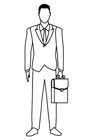 businessman with briefcase avatar cartoon character black and white vector illustration graphic design