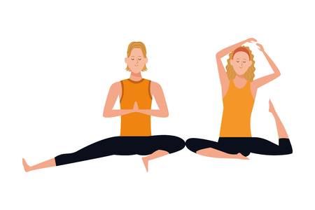 couple yoga poses avatars cartoon character headband vector illustration graphic design