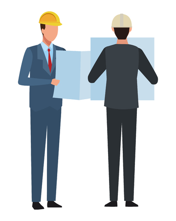 Construction teamwork avatar engineers with plans vector illustration graphic design