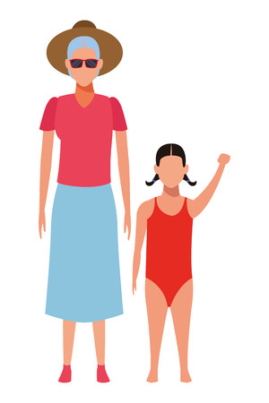 old woman and child avatar wearing summer clothes swimwear and sunglasses vector illustration graphic design