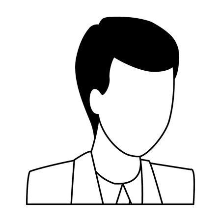 man portrait faceless avatar cartoon character black and white vector illustration graphic design