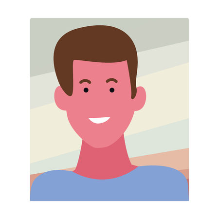 Young man smiling abstract cartoon profile over square frame background vector illustration graphic design  イラスト・ベクター素材