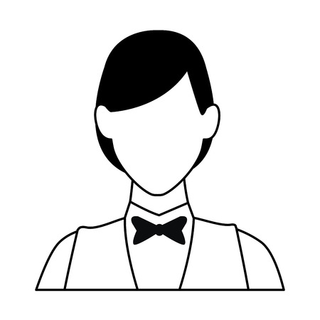 Waiter woman restaurant avatar profession vector illustration graphic design Çizim