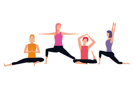 people yoga poses avatars cartoon character short hair vector illustration graphic design Stock Illustratie