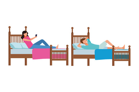 twin bed room and faceless people vector icon illustration graphic design