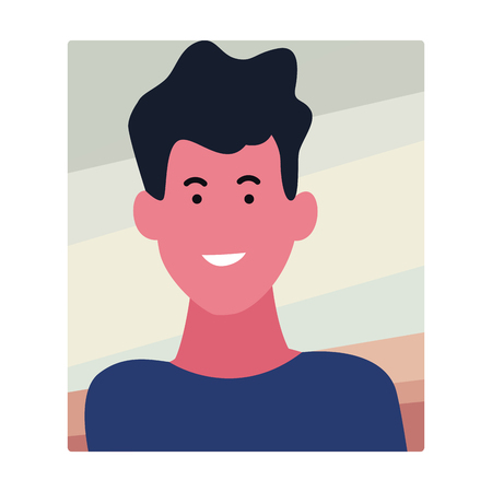 Young man smiling abstract cartoon profile over square frame background vector illustration graphic design Çizim