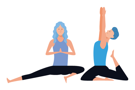 couple yoga poses avatars cartoon character vector illustration graphic design 向量圖像