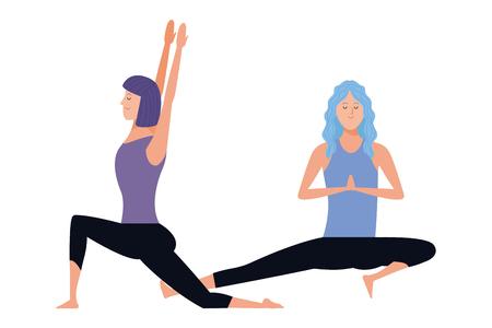 women yoga poses avatar cartoon character vector illustration graphic design Illustration