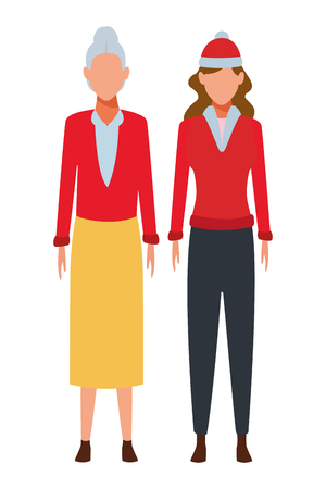 old woman and young woman avatar wearing winter clothes and knitted cap vector illustration graphic design Stock Illustratie