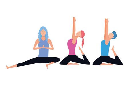 people yoga poses avatars cartoon character ponytail vector illustration graphic design