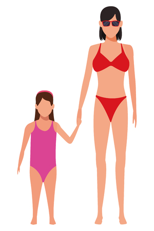 woman and young girls avatar wearing swimwear and sunglasses vector illustration graphic design