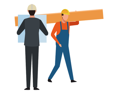Construction teamwork avatar engineer with plans and worker holding plank vector illustration graphic design Illustration