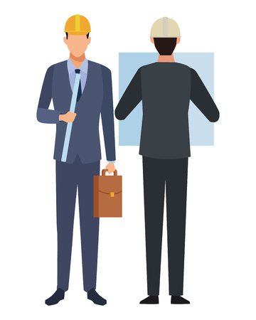 Construction teamwork avatar engineers with briefcase and plans backward vector illustration graphic design