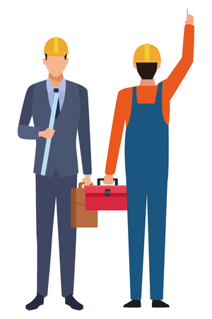 Construction teamwork avatar engineer with briefcase and worker backward with toolbox vector illustration graphic design Illustration