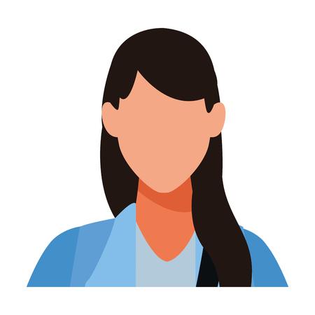 Woman faceless avatar profile vector illustration graphic design
