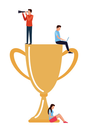 Coworkers teamwork on trophy cup with computer and telescope cartoon vector illustration graphic design Stock Illustratie