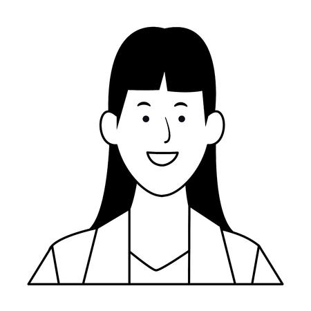businesswoman avatar cartoon character portrait black and white vector illustration graphic design