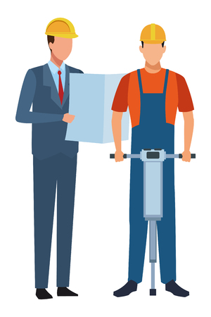 Construction teamwork avatar engineer with plans and worker with driller vector illustration graphic design Illustration