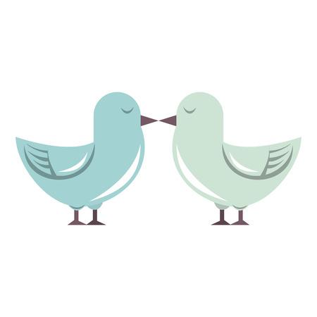 Cute birds kiss cartoon isolated vector illustration graphic design Standard-Bild - 122975839