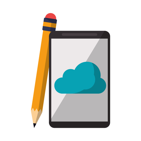 Cloud computing technology smartphone and pencil vector illustration graphic design