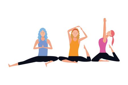 women yoga poses avatar cartoon character vector illustration graphic design 向量圖像