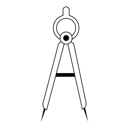 Compass geometric tool symbol isolated vector illustration graphic design