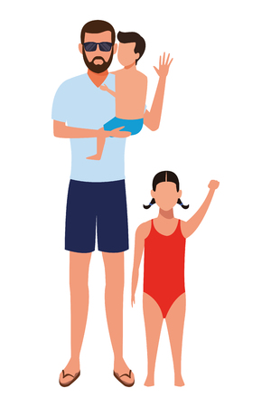 man and children avatar wearing summer clothes swimwear vector illustration graphic design
