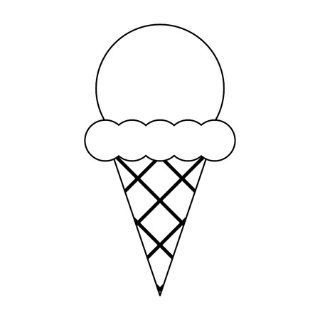 Ice cream cone with scoop vector illustration graphic design