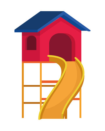 House with swing playground game vector illustration graphic design
