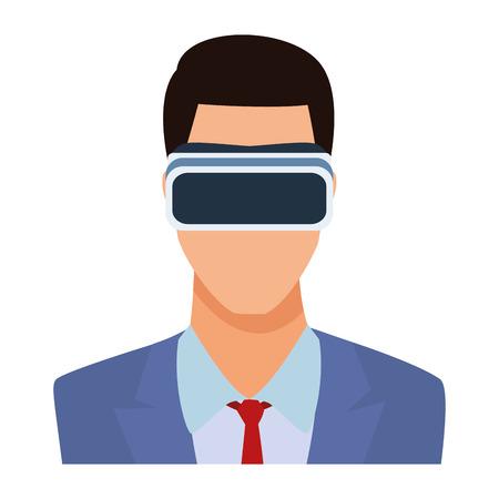 businessman wearing virtual reality headset portrait avatar cartoon character vector illustration graphic design