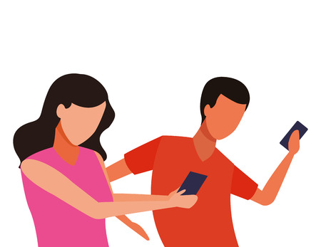 faceless couple together smartphone vector icon illustration graphic design Stock Illustratie