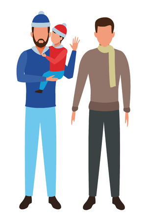 men and child avatar wearing winter clothes with scarf and knitted cap vector illustration graphic design