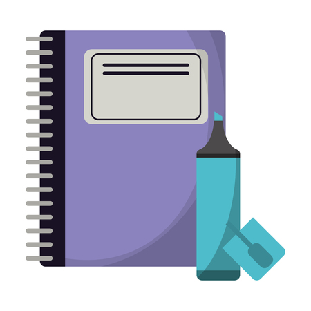 School utensils and supplies book and marker