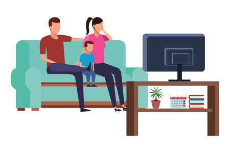 family sofa together and watching television vector icon illustration graphic design Illusztráció