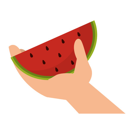 hand holding watermelon isolated vector illustration graphic design